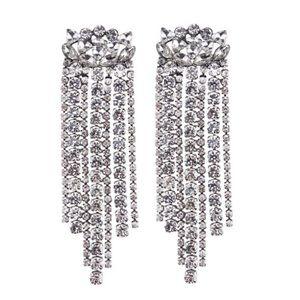 Fringed Glass Drop Earrings